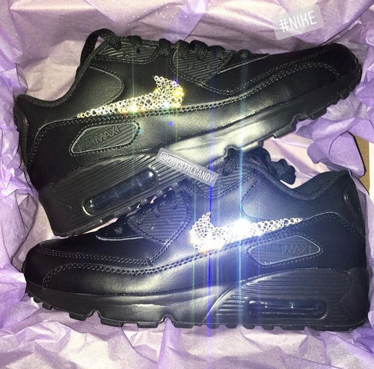 check out 2b1db 912c0 Crystal Nike Air Max 90 s in Black (Ticks Only)
