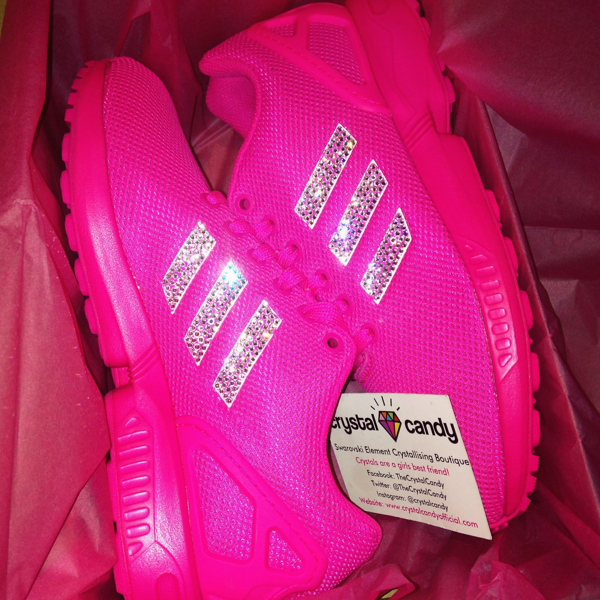 release date 3e7a3 d9421 Crystal Adidas Flux in Hot Pink