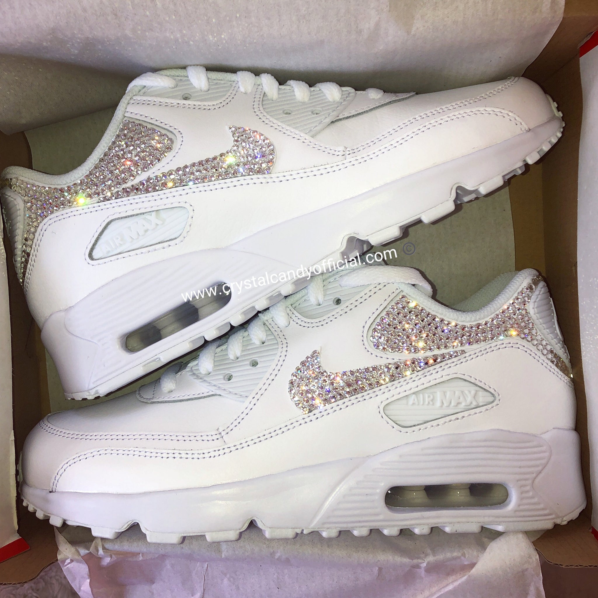 c32a637a8c Crystal Nike Air Max 90's in White (backs & ticks) - Crystal Candy Limited