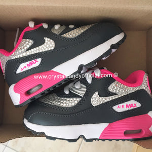 CRYSTAL KIDS/BABY PINK & BLACK NIKE AIR MAX 90'S (FULLY CRYSTALLISED)