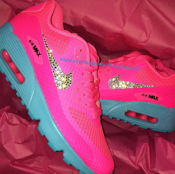 Crystal Neon Pink & Blue Nike Air Max 90's