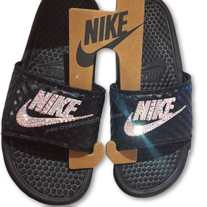 Crystal Nike Benassi Slide Sandals in Black
