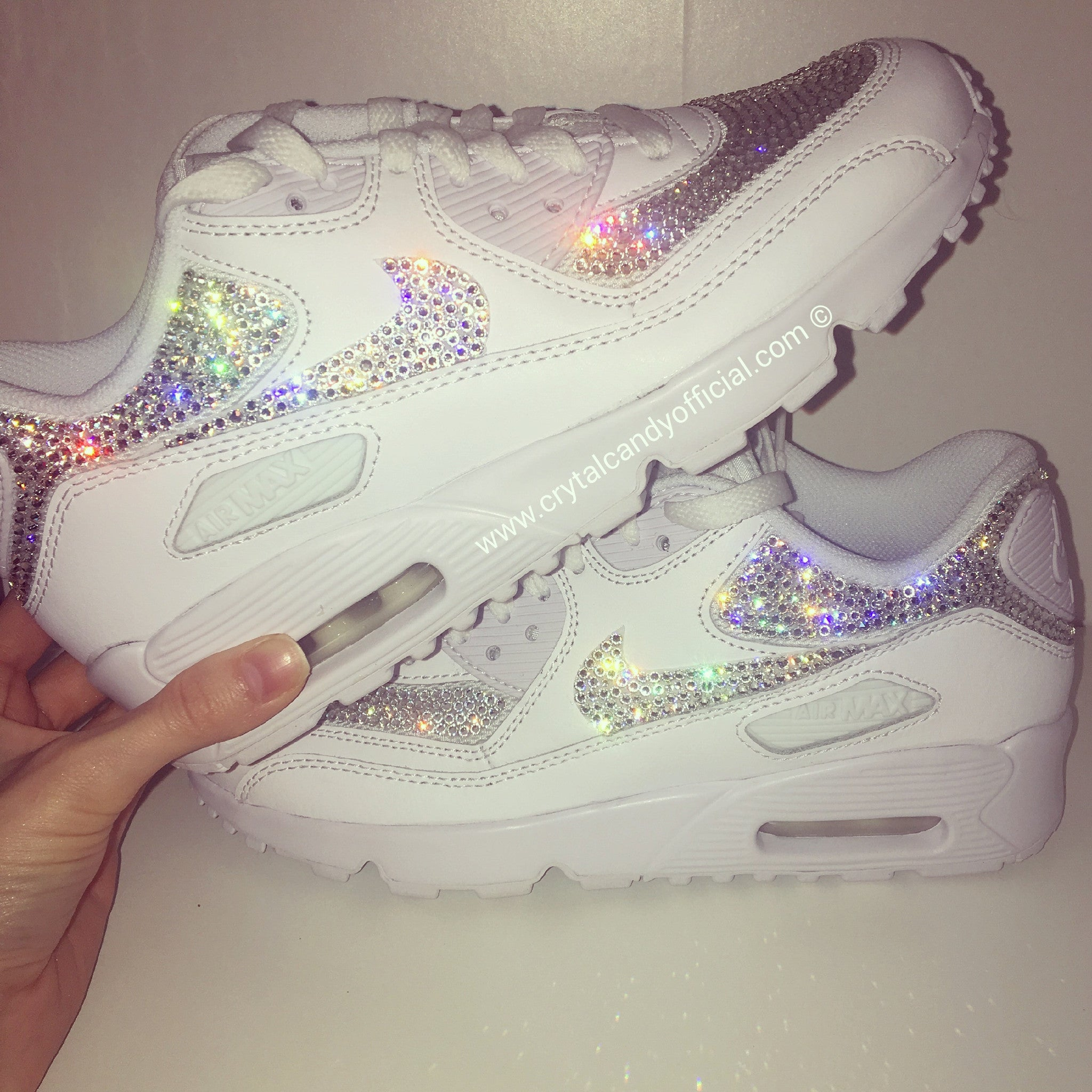 Crystal Nike Air Max 90's in White