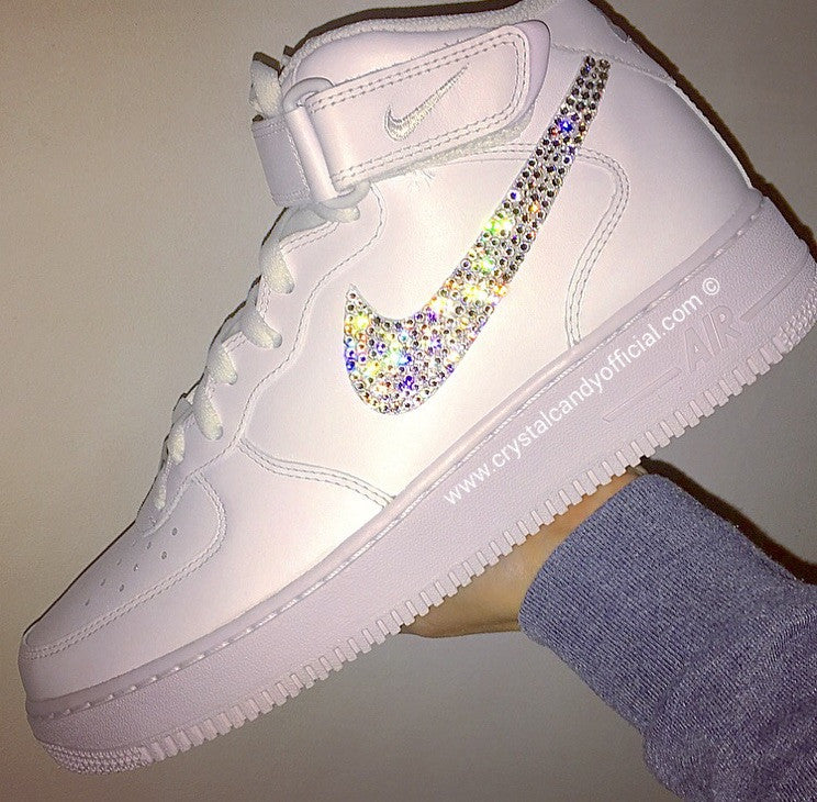 Crystal Nike Air Force 1 in White (Mid) - Crystal Candy Limited 6bd619bc6d8c