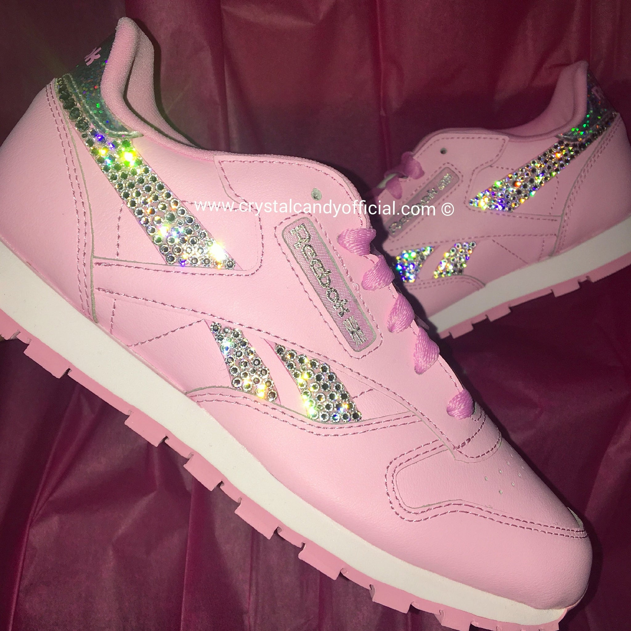 Crystal Reebok Classic in Baby Pink