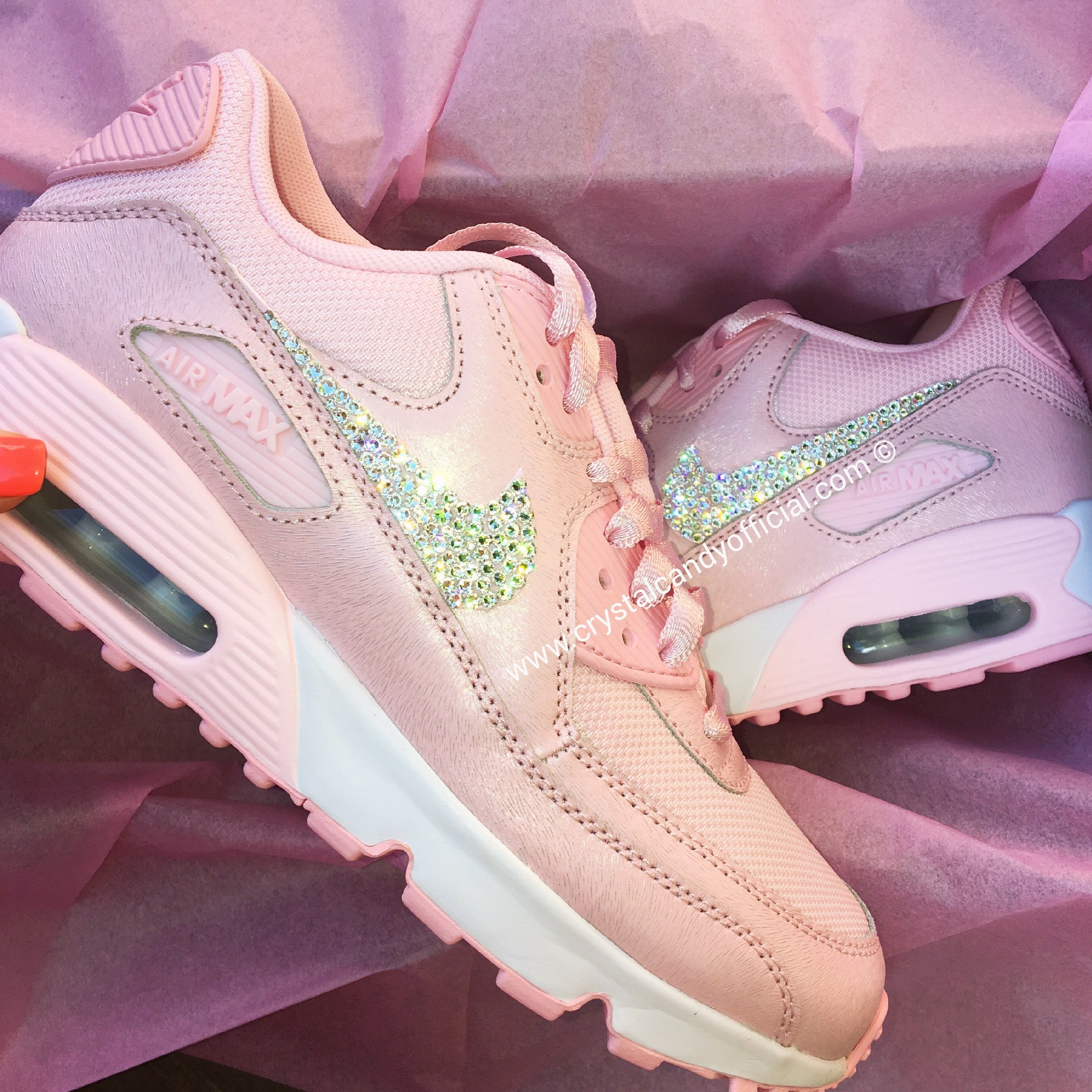 CRYSTAL NIKE AIR MAX 90 s IN BABY PINK Crystal Candy Limited
