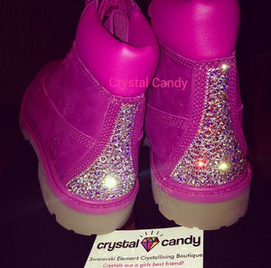 Crystal Timberland in Hot Pink