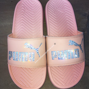 [CUSTOM] Crystal Puma Slides in Nude