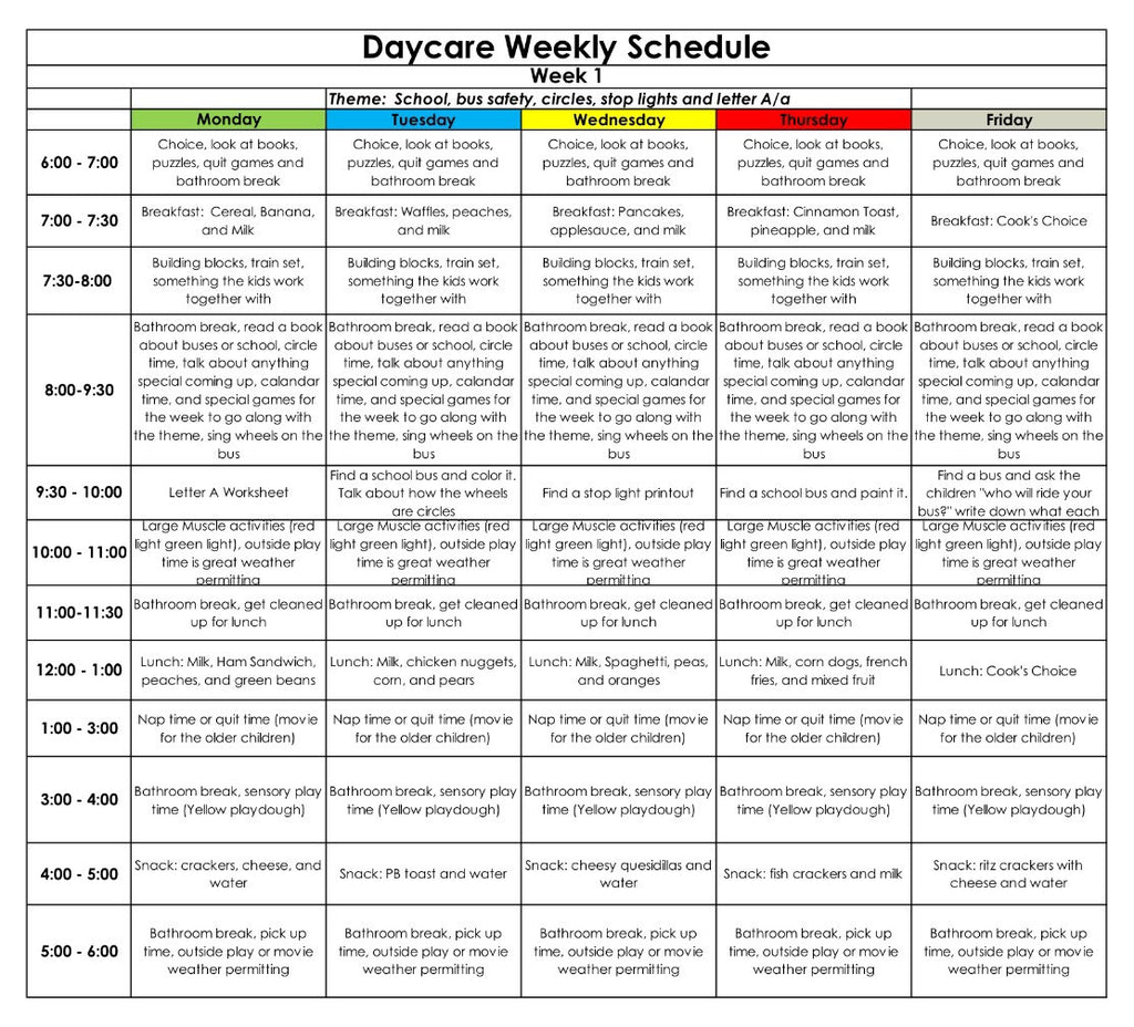 Home Daycare Lesson Plan