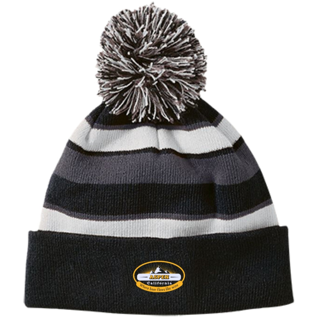 Hats - Aspen Striped Beanie With Pom
