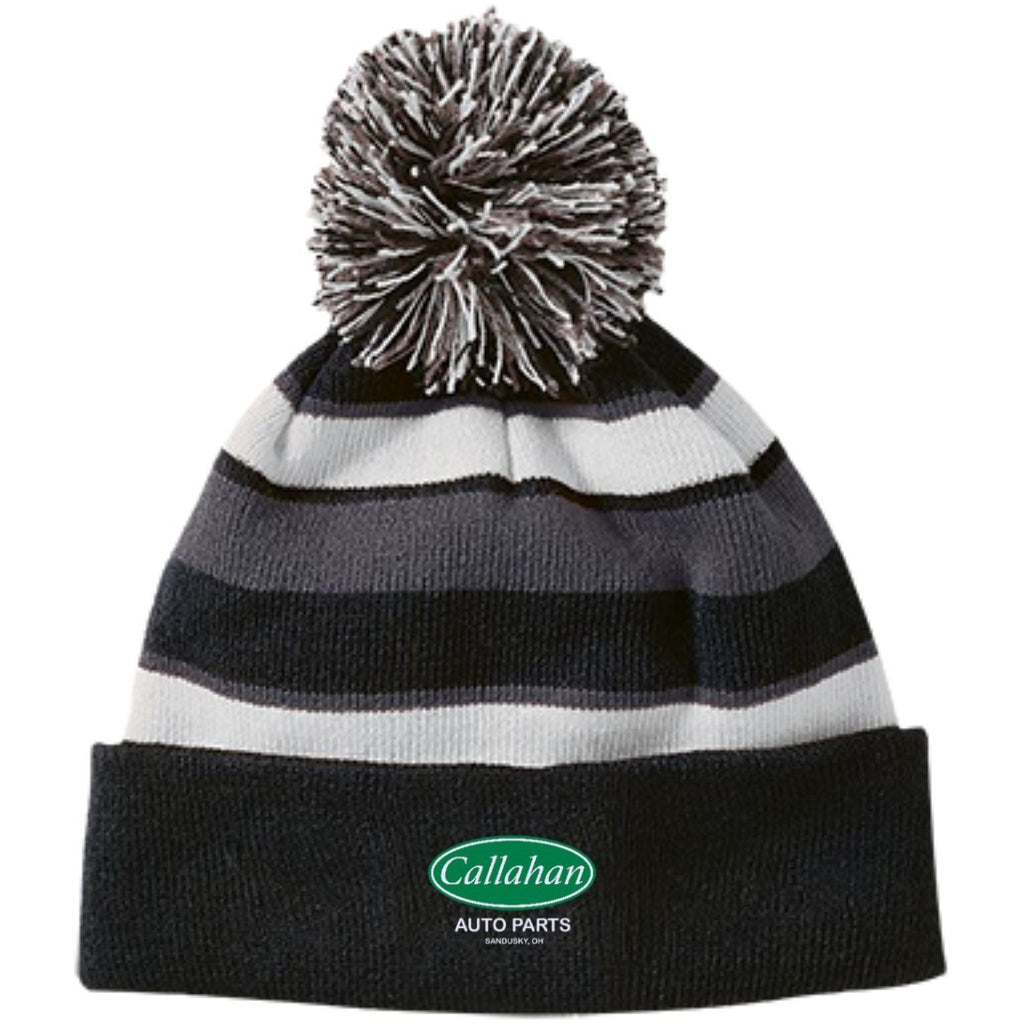 Hats - Callahan Striped Beanie With Pom