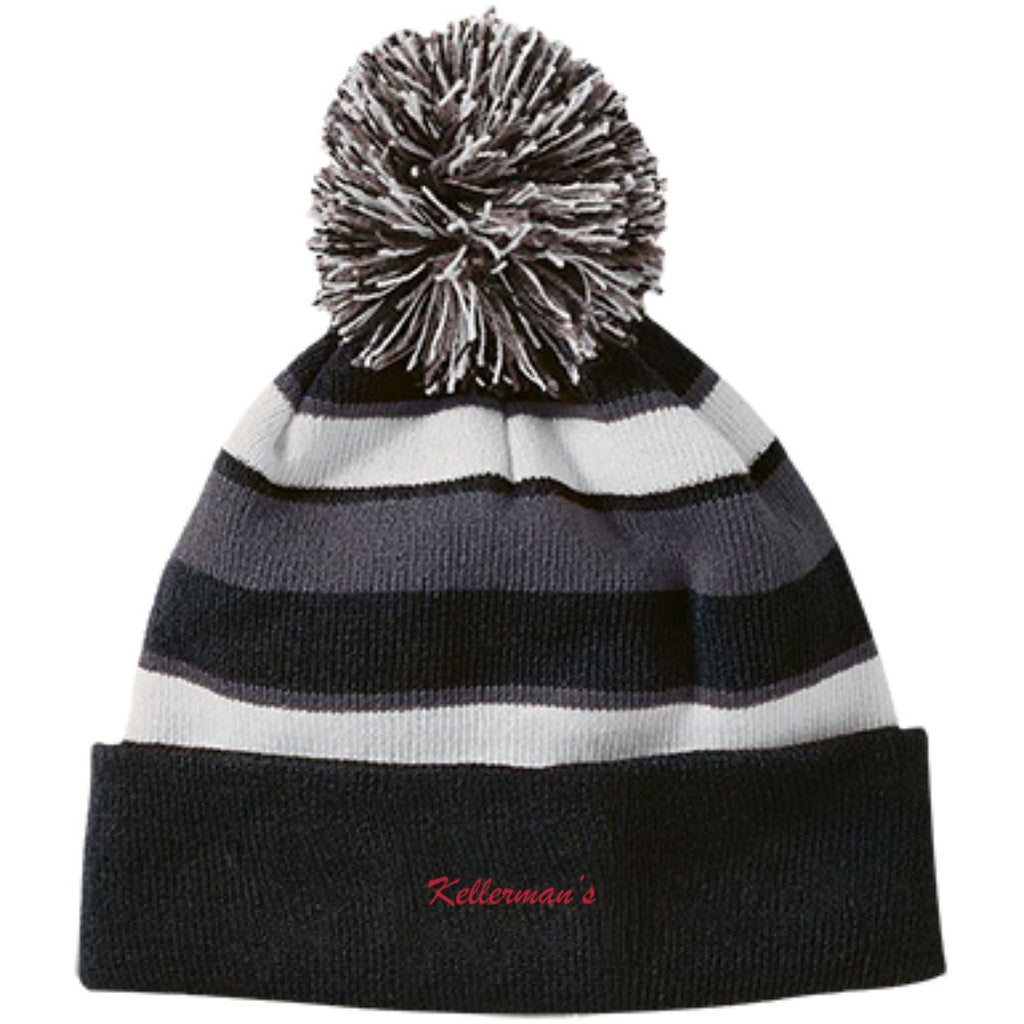 Hats - Kellermans Striped Beanie With Pom