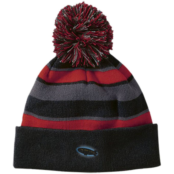 Hats - Striped Beanie With Pom