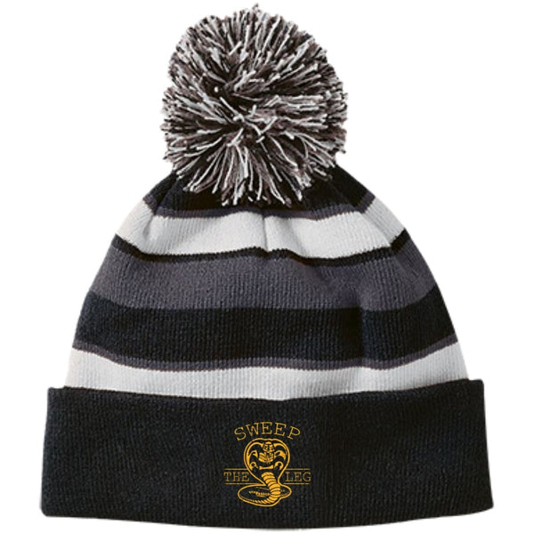 Hats - Sweep The Leg Striped Beanie With Pom