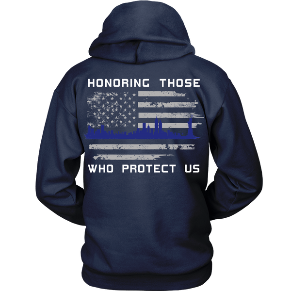Police Officers - Think Blue Skyline - Back Design