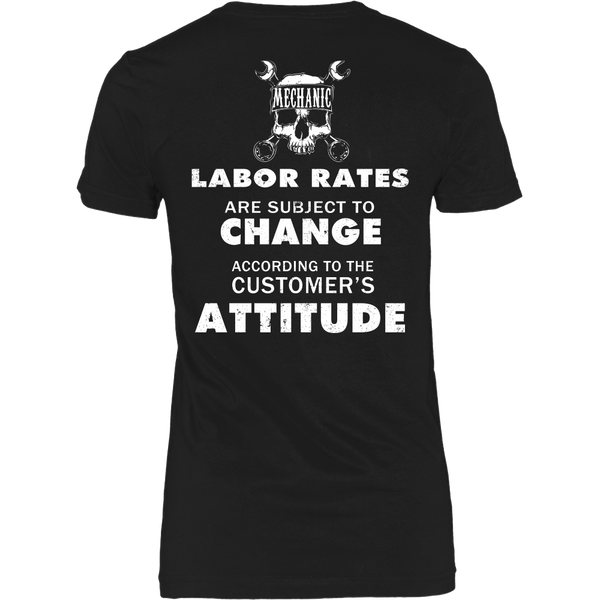 Mechanic - Labor Rates Are Subject To Change - Back Design