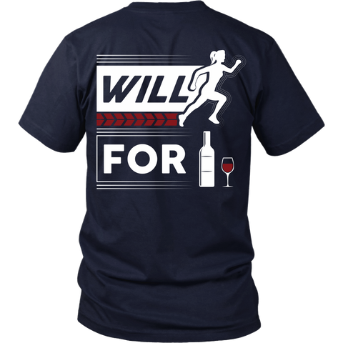 Wine Lover - Will Run For Wine - (Back Design)