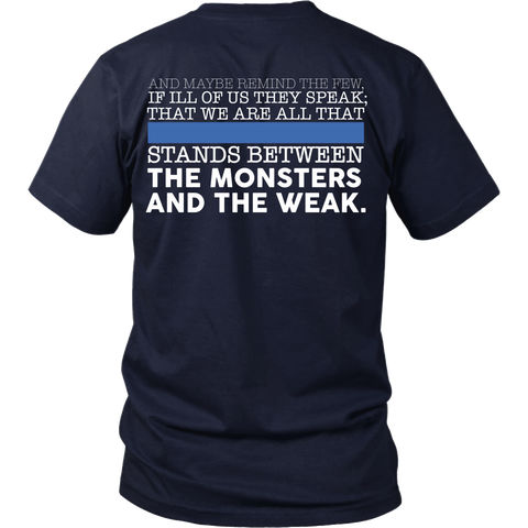 Police Thin Blue Line - Stand Between The Monsters And The Weak - Back Design