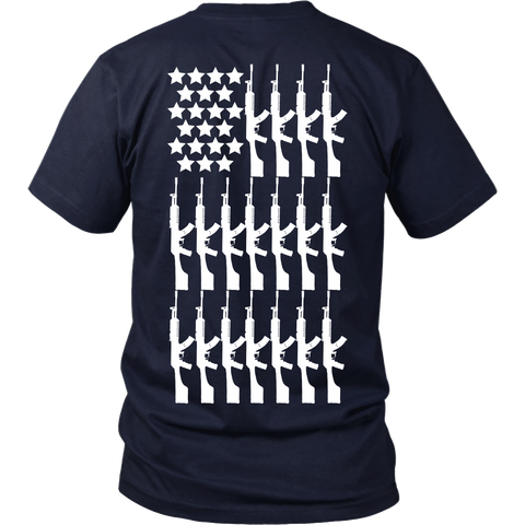White AK Gun Flag - Back Design