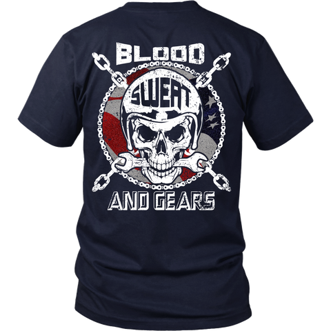 Racing/Mechanic - Blood Sweat and Gears - Back Design
