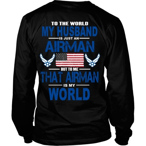 T-shirt - AIRFORCE - Husband Is My World - Back Design
