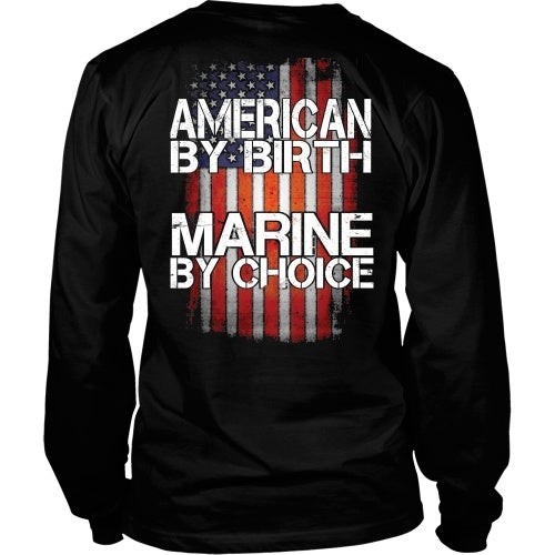 T-shirt - American By Birth - Marine By Choice - Back Design
