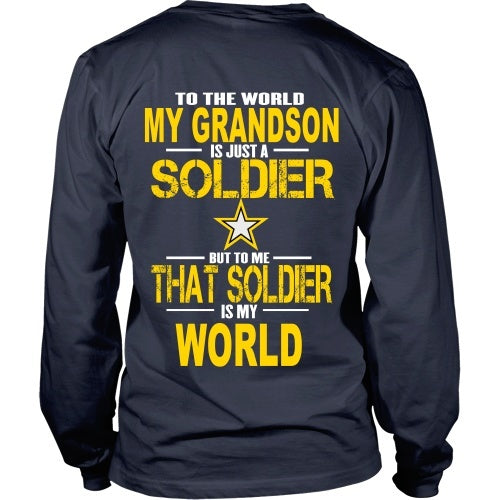 T-shirt - Army - Grandson Is My World - Back Design