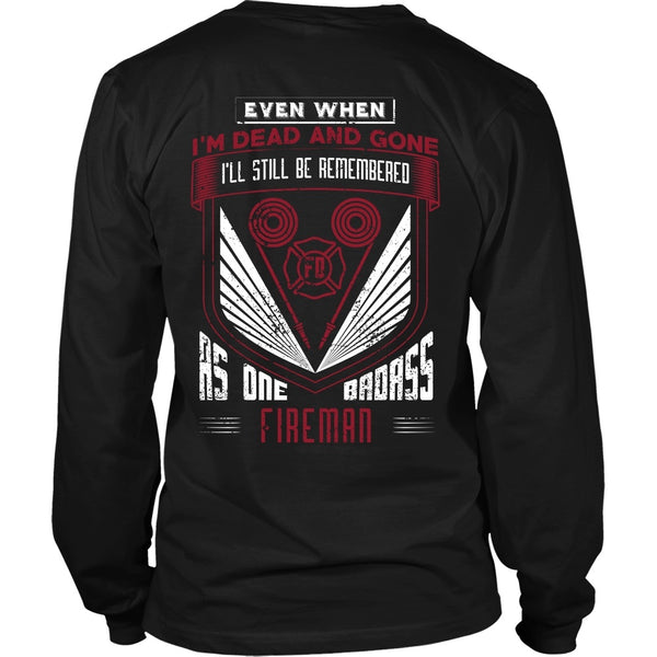T-shirt - Firefighter - Badass Fireman - Back Design