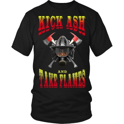 T-shirt - Firefighter - Kick Ash And Take Names - Front