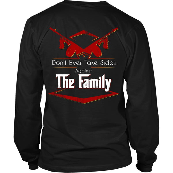 T-shirt - Godfather - (Red) Don't Ever Take Sides Against The Family - Back Design