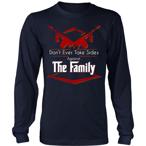 T-shirt - Godfather - (Red) Don't Ever Take Sides Against The Family - Front Design