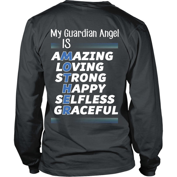 T-shirt - Mother Is My Guardian Angel (Blue) - Back Design