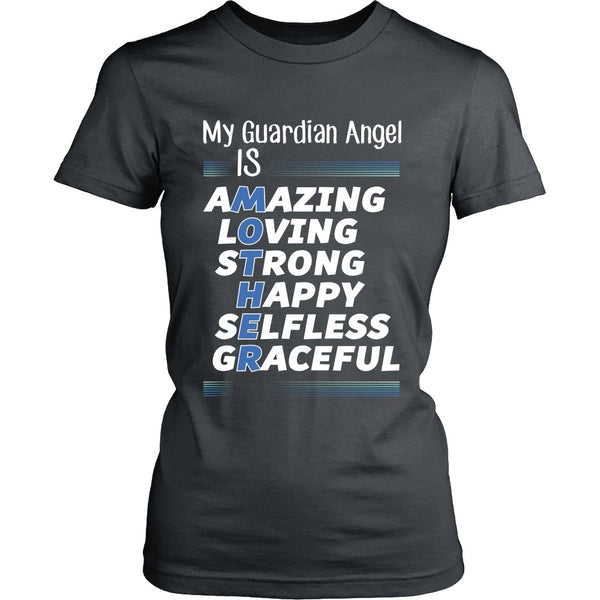 T-shirt - Mother Is My Guardian Angel (Blue) - Front Design