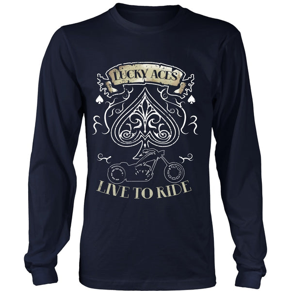 T-shirt - Motorcycle - Lucky Aces - Live To Ride - Front Design