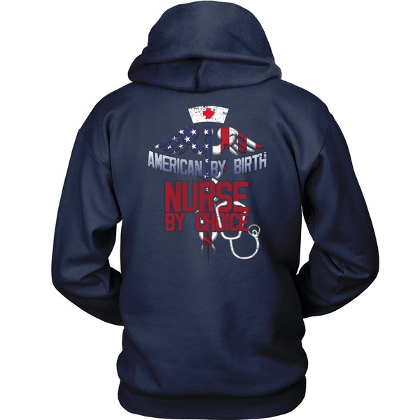 T-shirt - Nurse - American By Birth, Nurse By Choice (option 1) - Back Design