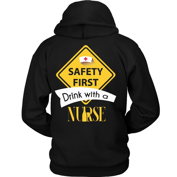 T-shirt - Nursing - Safety First Drink With A Nurse - Back Design