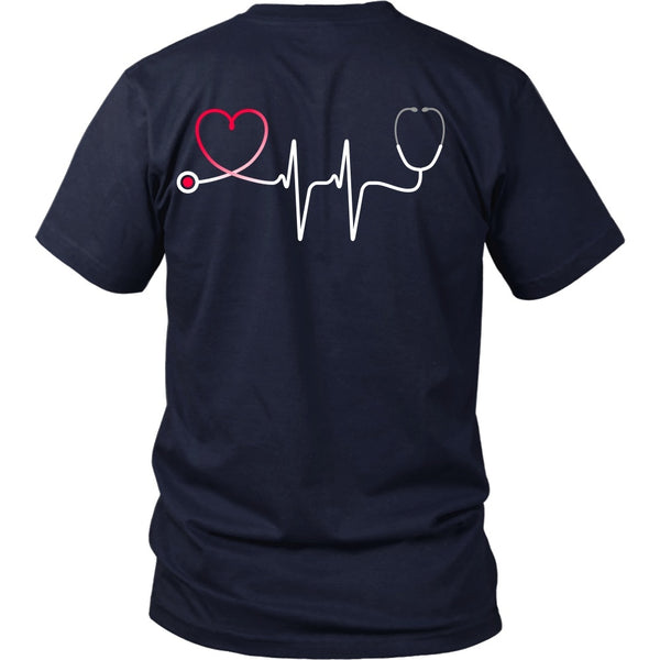 T-shirt - Nursing Stethoscope Heartbeat - Back Design