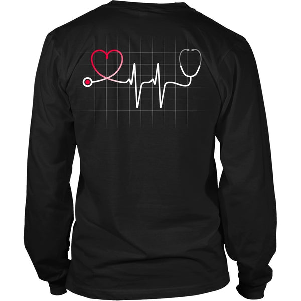 T-shirt - Nursing Stethoscope Heartbeat W/grid - Back Design