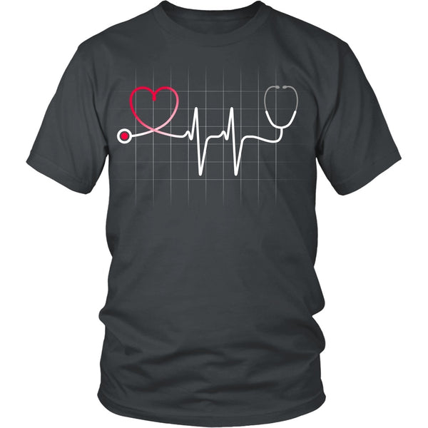 T-shirt - Nursing Stethoscope Heartbeat W/grid - Front Design