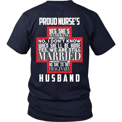 T-shirt - Proud Nurses Husband Tee (w/ Grey) - Back Design