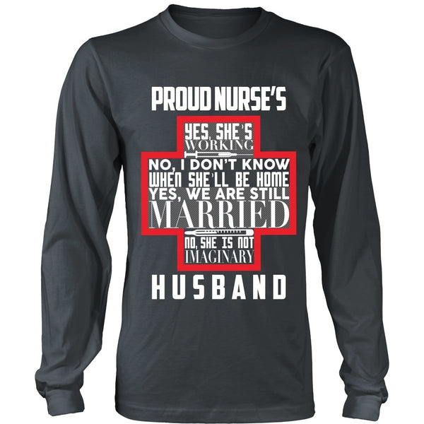 T-shirt - Proud Nurses Husband Tee (w/ Grey) - Front Design
