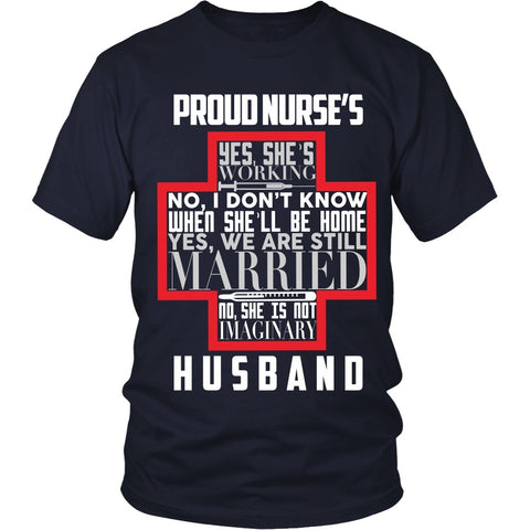 T-shirt - Proud Nurses Husband Tee (w/out Grey) - Front Design