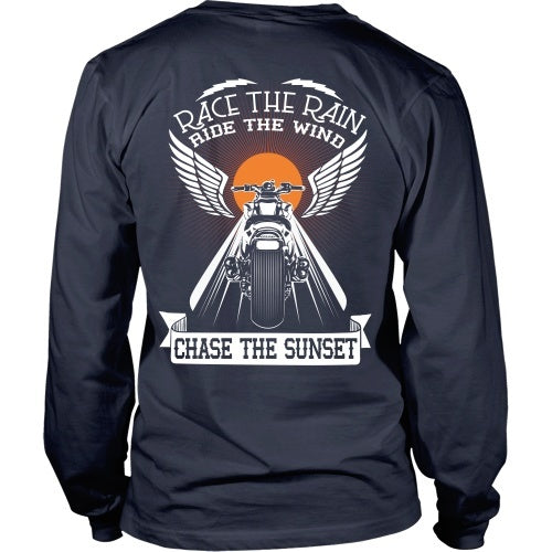 T-shirt - Race The Rain, Ride The Wind, Chase The Sunset - Back Design
