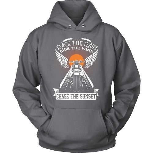 T-shirt - Race The Rain, Ride The Wind, Chase The Sunset - Front Design