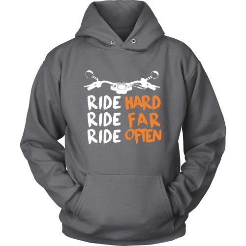 T-shirt - Ride Hard, Ride Far, Ride Often Motorcycle - Front Design