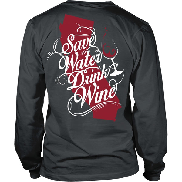 T-shirt - SAve Water, Drink Wine - Back Design
