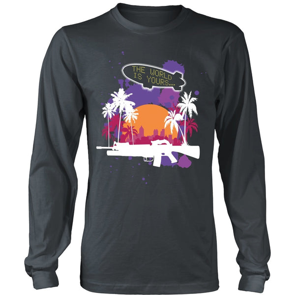 T-shirt - Scarface - The World Is Yours Blimp -Purple- Front Design