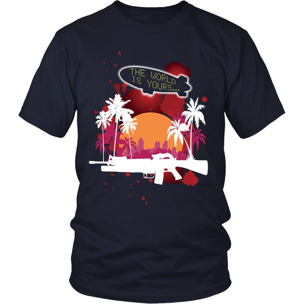 T-shirt - Scarface - The World Is Yours Blimp -Red- Front Design