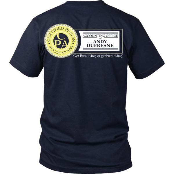 T-shirt - Shawshank Redemption - Dufresne Accounting (Yellow) - Back Design