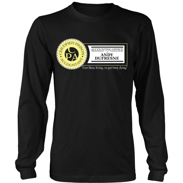 T-shirt - Shawshank Redemption - Dufresne Accounting (Yellow) - Front Design